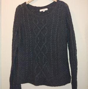 Women's Loft Cable Knit Long Sleeve Crew Sweater M